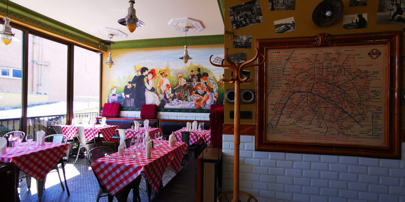 Restaurant with Parisian decoration - Paris metro map, painting on the Moulin Rouge ...