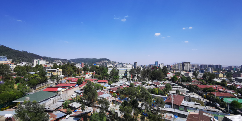 View over the rooftops of Addis Ababa, from the rooftop of the grand hotel du louvre