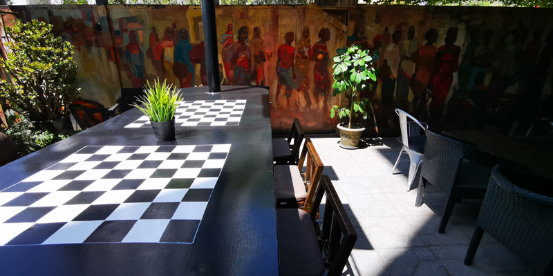 Chess table on the artists' terrace