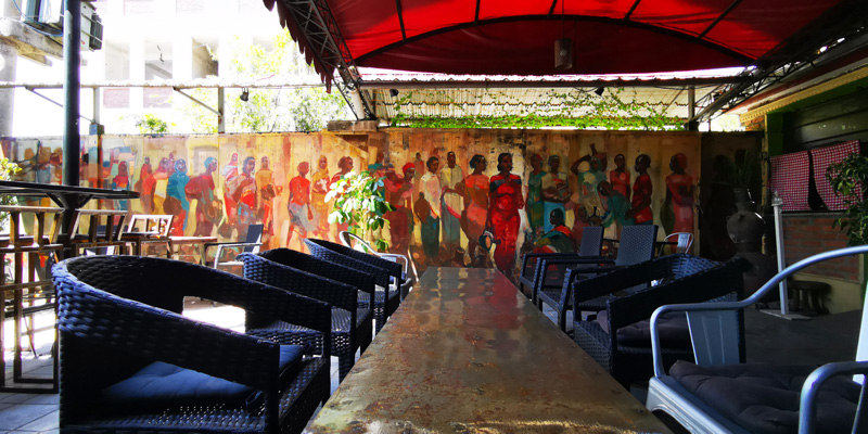 The artists' terrace, one of the most popular in Addis Ababa